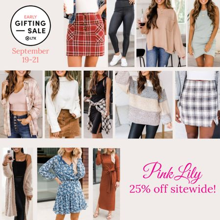 The LTK Early Gifting Sale ends tomorrow! All of your fall fashion favorites and bestsellers from Pink Lily are on sale for 25% off through September 21st, only in the LTK app!  . Fall fashion fall outfit sweater plaid skirt faux leather leggings thanksgiving outfit suede skirt fall dress midi dress bralette plaid shirt cardigan   #LTKSale #LTKunder50 #LTKsalealert