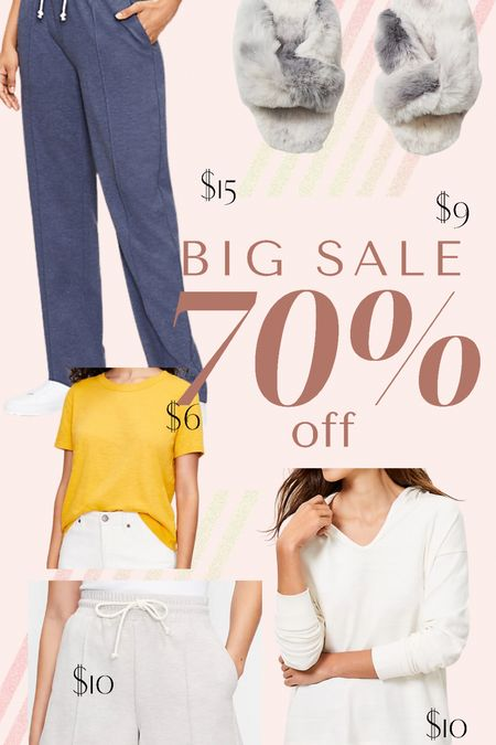 Loft has 70% off sales styles with SURPRISE when you get 3+ items. Basic tees for summer, comfy house lounge wear and slippers.   #LTKunder50 #LTKshoecrush #LTKsalealert