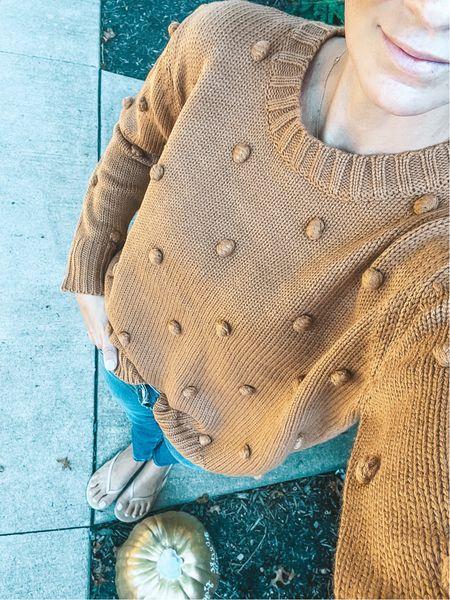 Cutest camel Pom Pom sweater for Fall is on sale. Wearing size: Small 🌻   #LTKsalealert #LTKSale #LTKSeasonal