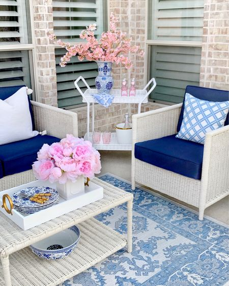 Blue and white outdoor decor, outdoor furniture, target finds, target home, blue and white decor, Serena and Lily lookalike, amazon finds, blue outdoor rug , affordable patio set, target home @liketoknow.it #liketkit http://liketk.it/3hZI7 outdoor bar cart, white bar cart, cherry blossom #LTKhome #LTKsalealert #LTKunder50