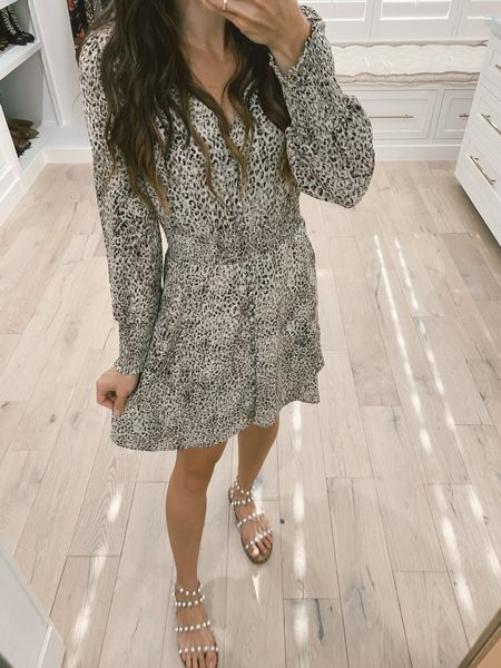 Leopard smocked mi I dress pearl sandals #nsale Nordstrom anniversary sale dress. Runs small   #LTKunder100 #LTKshoecrush #LTKsalealert