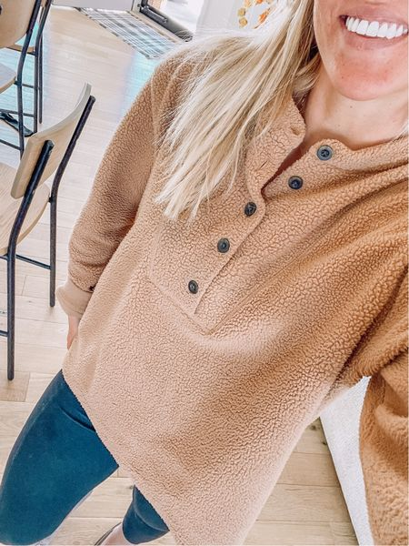Cozy Henley top is from Walmart. Runs small--I'm wearing size XL for an oversized fit. Comes in 4 colors    #LTKstyletip #LTKunder50 #LTKSeasonal