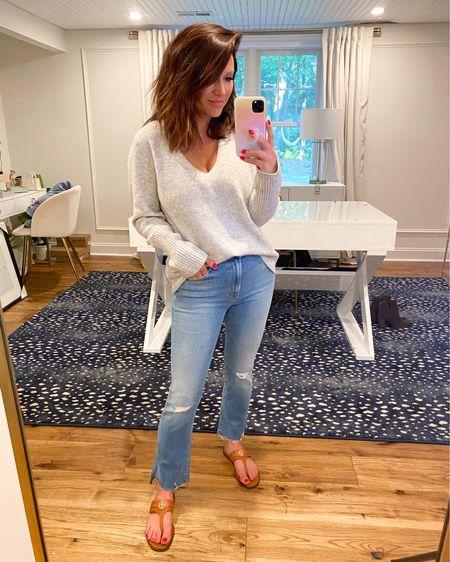 Sweater (M) Denim (28) Sandals (7.5) if I'm between go up .5  @liketoknow.it http://liketk.it/3jVbl #liketkit #LTKsalealert #LTKstyletip #LTKshoecrush    Nsale, casual outfit