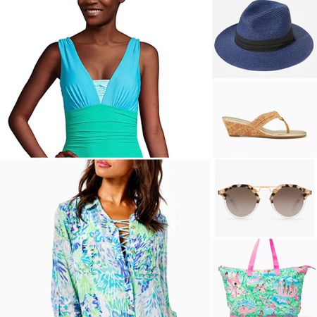 I am loving this swimsuit from LandsEnd, it holds you in while feeling comfortable! Add the Lilly coverup, sandals and packable bag. The  sun hat is packable and comes in lots of fun colors. The sunglasses add a dash of cool.   #LTKSeasonal #LTKtravel #LTKswim
