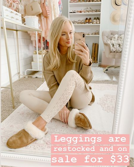 Light pink leggings on sale under $35! I sized up to a medium http://liketk.it/2MW7J #liketkit @liketoknow.it #StayHomeWithLTK #LTKsalealert #LTKfit