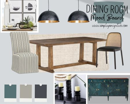 dining table, light fixture, side board, chairs, rug, frames, plates, candles  #LTKhome #LTKDay #LTKmens