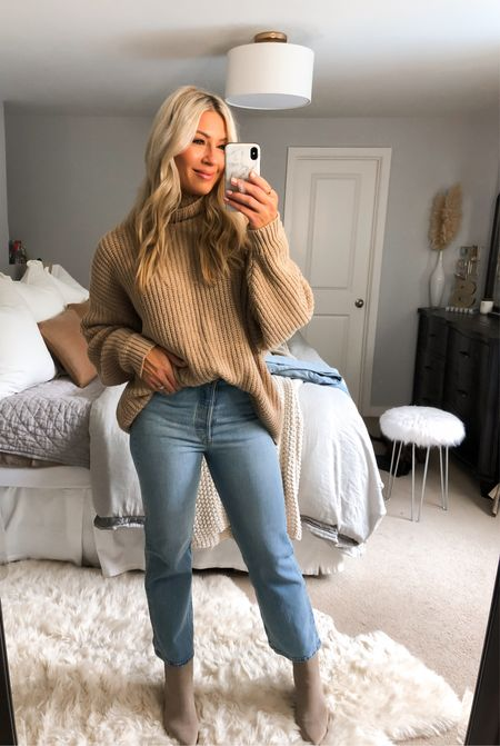 The best cropped Levi's! They take a minute to form to your body but wow..they hold you in! Tts. Sweater is my usual med   #LTKstyletip #LTKunder50 #LTKunder100