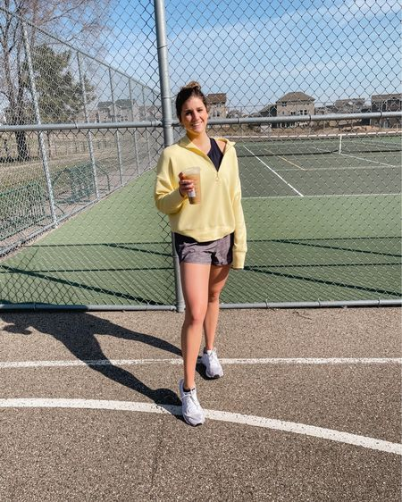 Athletics Ute spring outfit. Quarter zip + high neck sports bra + lululemon shorts @liketoknow.it #liketkit http://liketk.it/3c3Pn #LTKfit #LTKunder100 #LTKunder50