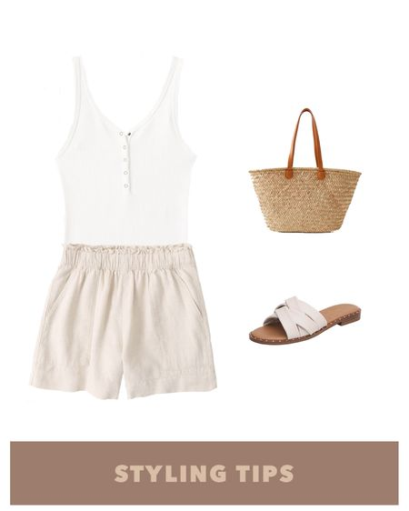 Linen blend shorts paired with a ribbed henley bodysuit ,  straw tote bag , and slide sandals makes a comfy but cute summer outfit.  http://liketk.it/3hzbW #liketkit  @liketoknow.it #LTKcurves #LTKstyletip #LTKunder100 #LTKunder50 #LTKsalealert #LTKtravel #LTKitbag #LTKshoecrush #LTKworkwear #LTKSeasonal  Amazon fashion   amazon finds   shorts outfit women   summer fashion   summer outfits women   linen shorts   paperbag shorts   beach vacation   Abercrombie   Abercrombie & Fitch   high waisted shorts   tank tops   Abercrombie shorts   petite style   petite fashion   Henley top   Henley bodysuit   tank tops   sandals casual   pull on shorts