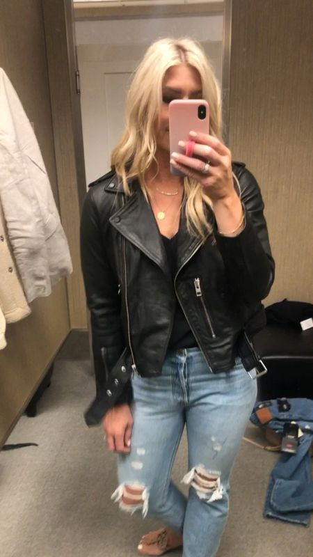This jacket is leather perfection! I sized up to a US 10 and feel like the arms could be 1/2 inch longer but it's a European fit so I'll take what I can get. $170 off right now and just restocked in most sizes (all three colors) Really the only time to buy a leather jacket is now NSale Nordstrom sale   #LTKstyletip #LTKeurope #LTKsalealert