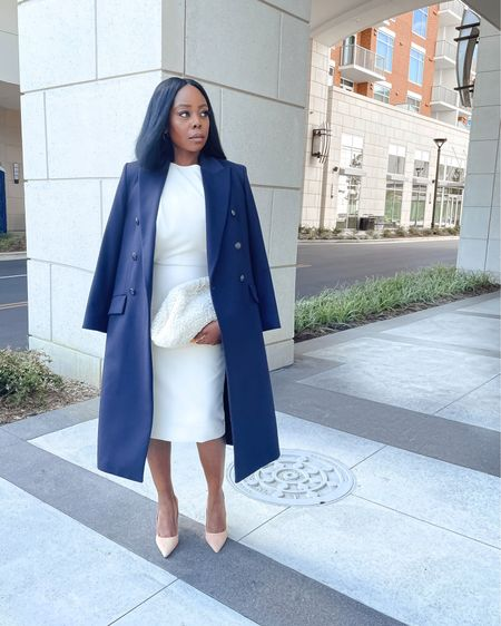 A power look evokes a sense of confidence and poise. You can go from church, brunch, or work to drinks in the evening or dinner on the town with the girls or bae. Layering is an art; it  separates the amateurs from those who truly get it!   Details as pictured:  Outerwear: @massimodutti Dress: @mango Clutch: @cosstores Shoes: @schutz   #LTKstyletip #LTKworkwear #LTKshoecrush