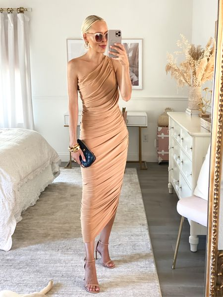 Wedding guest dress option two. Super stretchy and comfy and has a built in bodysuit. Double lined.   #LTKwedding #LTKstyletip #LTKSeasonal