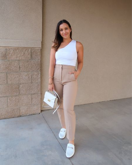 Neutral Spring Outfit   Express Top, Amazon Fashion Loafers   #LTKshoecrush #LTKunder50 #LTKsalealert
