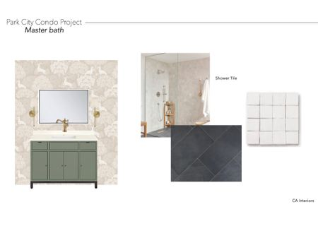 Mountain condo bathroom mood board! Can't wait to see this come to life! (Tile linked is similar!)#LTKinteriors   #LTKhome #LTKitbag