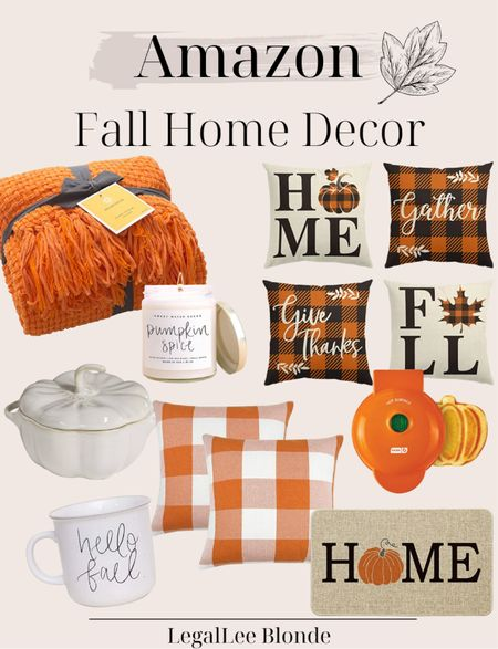 Amazon fall home decor finds! Don't miss these affordable and cute fall home decor items, like this pumpkin waffle maker; fall coffee mug and fall pillows! - amazon home - amazon home decor - amazon finds - amazon deals - cozy blanket - throw blanket - fall decorations - fall candles - pumpkin spice - autumn decor   #LTKhome #LTKunder50