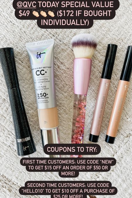 """This 5 piece it cosmetics sale is such a good deal! $172 value on sale for $49.   First time customers: Use code """"NEW"""" to get $15 off an order of $50 or more!   Second time customers: use code """"HELLO10"""" to get$10 off a purchase of $25 or more! #ad"""