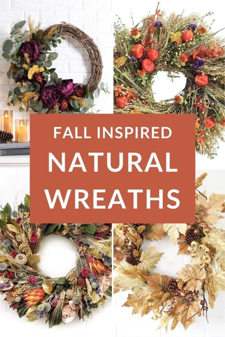 Hanging a natural autumn wreath on your front door is a great way to add that finishing touch to your front porch 🍂🌾🍁 fall front porch decor autumn home decor  #LTKhome #LTKunder50