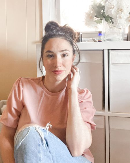 Spring pink and soft tones. Love this easy to wear top from Amazon and ripped mom jeans from ASOS. #LTKSeasonal #LTKunder100 #LTKunder50 #LTKSpring http://liketk.it/39Xyn #liketkit @liketoknow.it