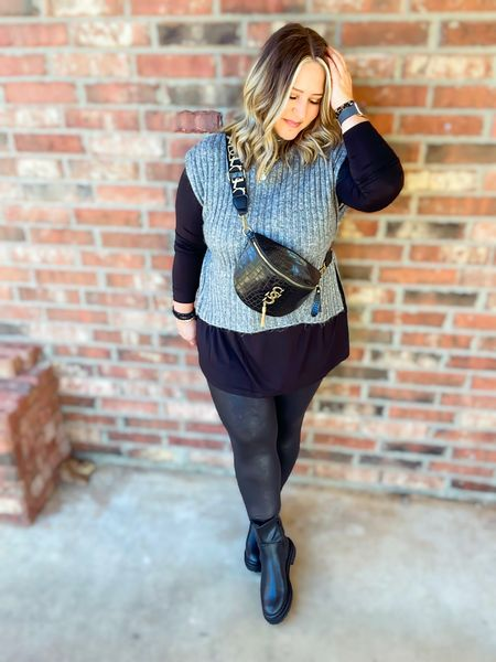 Sweater vest one size  Leggings size large tts Shirt size large tts Boots tts  #LTKstyletip #LTKunder50 #LTKcurves