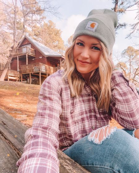 the softest flannel hoodie from AE has been on repeat lately 🤍 I linked it and my mint carhartt beanie with @liketoknow.it http://liketk.it/37j3k #liketkit