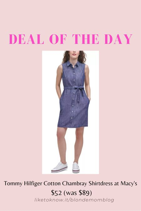 The classic chambray dress never goes out of style! This is the perfect summer dress. #chambray #chambraydress #hilfiger #tommyhilfiger #classic #preppy #summerdress  #LTKSeasonal #LTKunder100