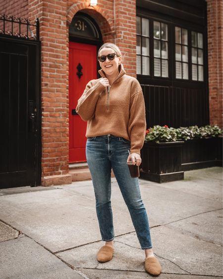 Coffee run fall outfit  Everlane half zip sweater (M) Citizens of humanity cropped jeans Jenni Kayne shearling mules  #LTKSeasonal #LTKunder100