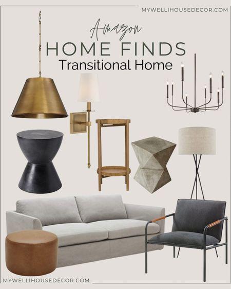 Amazon Home Finds Transitional home decor  Light fixtures, pendant lights, couch, accent chair, end table, sconces, ottoman, drink table  #LTKsalealert #LTKhome