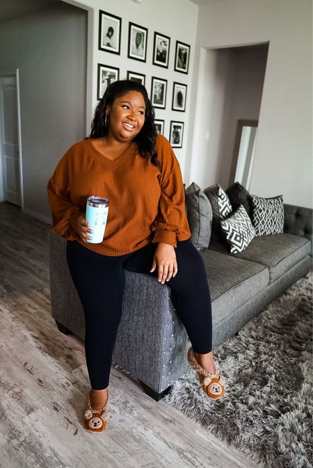 Plus size fall outfit | Shein Waffle knit top for $13 coming in 10 colors, long sleeve top, plus size sweaters, plus size leggings, plus size fall outfit inspo.  #LTKcurves #LTKunder50