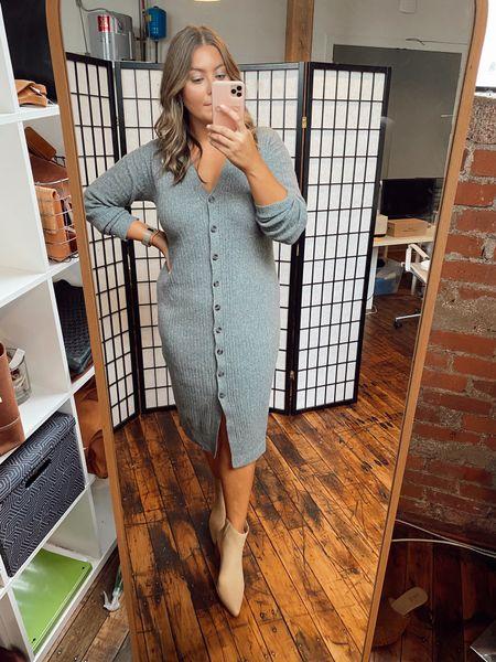 Ribbed sweater dress, wearing XL - use CARALYN25   #LTKcurves #LTKunder100 #LTKstyletip