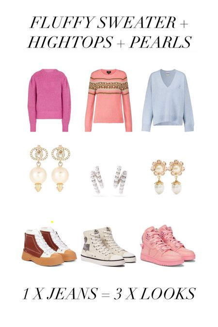 3. LOOK: FLUFFY SWEATER + HIGHTOPS + PEARLS  Fluffy voluminous knitwear is still going strong after all the seasons. Right now it is at it's best in delicious pastel shades. So breakup all that cuteness add cool hightop sneakers. But because we love cute and feminine, I still added pearls, if that makes any sense!  #LTKstyletip #LTKworkwear #LTKshoecrush