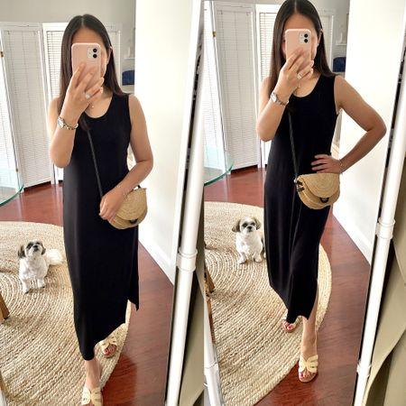 Simple black midi dress in XS petite and a flattering leg slit on the right side  #LTKSeasonal #LTKshoecrush #LTKstyletip