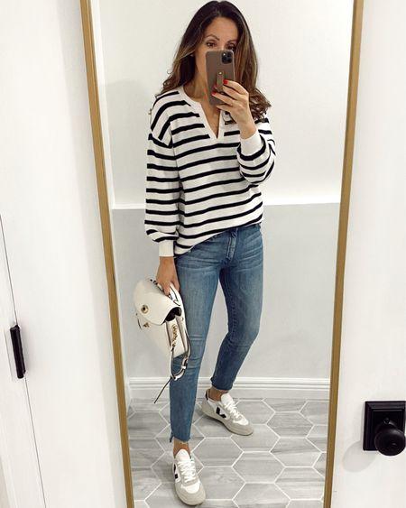 Sweater in xs (it's fairly light). Jeans TTS. Size down in sneakers.   http://liketk.it/3jVxy #liketkit @liketoknow.it   #LTKshoecrush #LTKstyletip #LTKsalealert