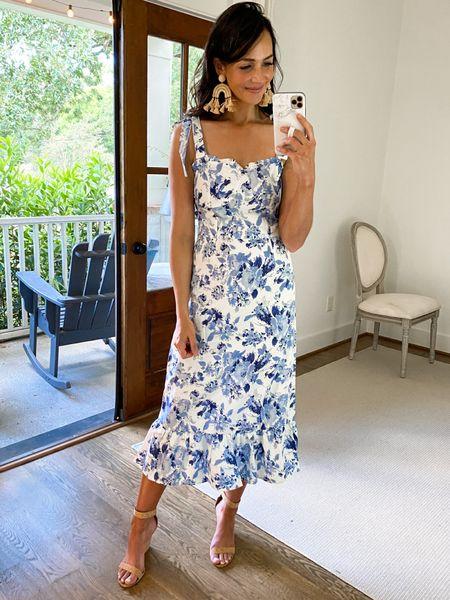 $20 blue and white floral dress with adjustable straps     #LTKunder50