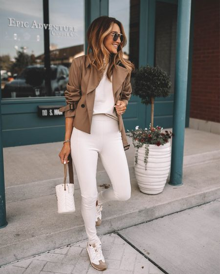 Comfy set to conquer this Tuesday! Extra high waisted leggings are great for traveling and running errands but also work on the office and as a casual chic outfit. Wearing size 0P sleeveless top and cropped trench (almost sold out) linking a similar style! Neutral sneakers  Gucci mini bucket bag   #LTKstyletip #LTKshoecrush #LTKitbag