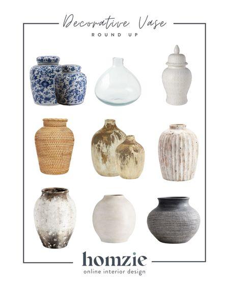 Decorative vases, rustic vase, chinoiserie vase, blue and white vase, pottery, decorative vase, large vase, bookshelf decor, coastal decor  #LTKhome