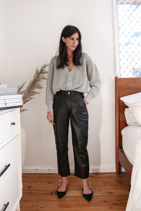 Grey oversized knit cardigan with black leather pants in a straight leg, and dior slingback flats   #LTKaustralia #LTKstyletip #LTKSeasonal