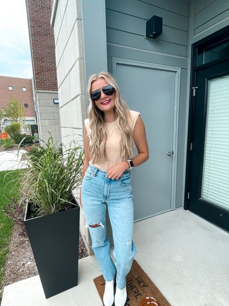 Absolutely loving this bodysuit and jeans for fall! So fun and easy to dress up or down. Wearing a small in bodysuit and 27 in jeans! Abercrombie has the BEST jeans   #LTKbacktoschool #LTKstyletip #LTKunder100