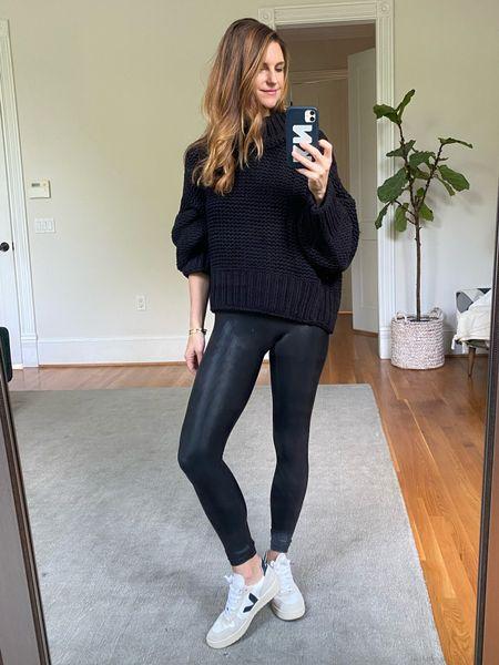 Black sweater outfit, Spanx, sneaker look, best casual sneakers, knit sweater   #LTKsalealert