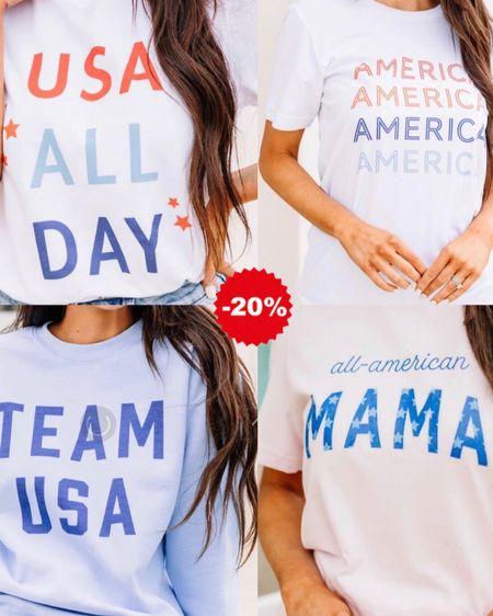 http://liketk.it/3hTlg #liketkit @liketoknow.it #LTKsalealert #LTKstyletip #LTKunder50 Americana tees, 4th of July, USA, graphic t-shirt, graphic sweatshirt, red white blue
