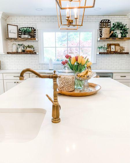 Spring kitchen vibes  Antique brass fixtures Wooden tray  http://liketk.it/3eEOj #liketkit #LTKhome #LTKunder100 #LTKsalealert @liketoknow.it @liketoknow.it.home