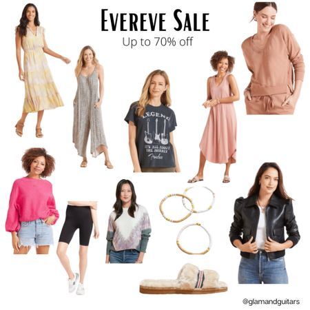 Evereve sale up to 70% off. Memorial Day Sale. Holiday sales. Summer style. Sale finds. Women's fashion. Midi dress. Summer dresses. Graphic tee. Jacket. Bracelet stack. Slippers. Jumpsuit. Rompers.  http://liketk.it/3giVU #liketkit @liketoknow.it #LTKsalealert #LTKstyletip #LTKunder100