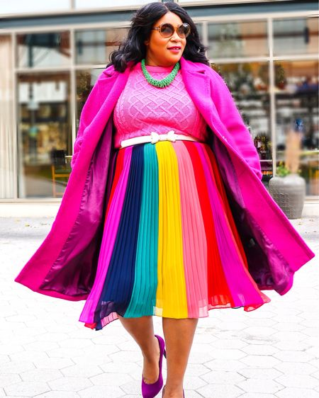 Bright bold color is my go to this winter. Taste the 🌈. @liketoknow.it http://liketk.it/2HNvh #liketkit #LTKholidaystyle #LTKcurves