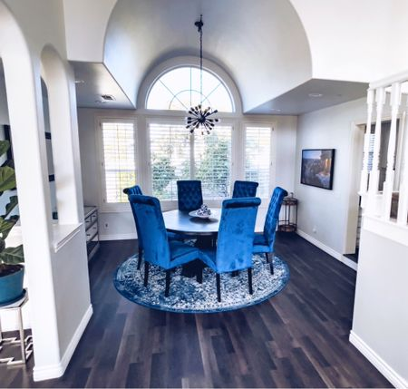 """✶ 𝘐𝘵'𝘴 𝘢𝘭𝘭 𝘪𝘯 𝘵𝘩𝘦 𝘥𝘦𝘵𝘢𝘪𝘭𝘴…  Here are some 𝘈𝘍𝘛𝘌𝘙 photos of our formal living room, entryway and dining room.   𝘐𝘊𝘠𝘔𝘐, the post, """"𝘉𝘌𝘍𝘖𝘙𝘌 & 𝘈𝘍𝘛𝘌𝘙: 𝘏𝘰𝘮𝘦 𝘙𝘦𝘯𝘰𝘷𝘢𝘵𝘪𝘰𝘯"""" is now up on the blog. In the full post, you'll find more before and after photos and get links to all the furnishings shown, including the navy blue pillows, marble coffee table, 60"""" round dining table, velvet high back chairs, and more!  Head to the blog to read the full post. 𝙇𝙞𝙣𝙠 𝙞𝙣 𝘽𝙞𝙤.   The direct link is: https://www.travelisthecure.com/single-post/home-renovation   #fixerupper #fixeruppers #fixerupperstyle #fixerupperinspired #fixerupperdecor #fixerupperhouse #ourfixerupper #beautifulhomesofinstagram #homestyling #homedecorinspo #decortrends #interiordesigninspiration #interiordecor #houserenovation #myrenostory #homereno #renovationproject #renovationideas #housereno #renovationlife #homeupdates #homeremodel #homeremodeling #homerenovationideas #homeupgrades #renovations #houserenovations    #LTKhome #LTKunder50 #LTKunder100"""
