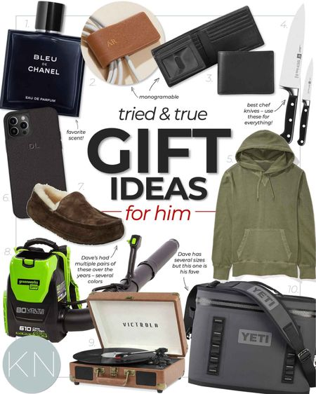 Tried and true gift ideas for him — shop now to ensure timely delivery for the holidays! Husband gift son gift brother gift boyfriend gift father gift record player chef knife men's cologne men's slipper cooler ice maker weekend bag hoodie wallet power tool blowe  #LTKSeasonal #LTKGiftGuide #LTKHoliday