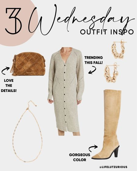 Wednesday Outfit Inspo - OOTD, Fall outfit inspiration, fall sweater dress, neutral accessories, fall fashion   #LTKSeasonal #LTKshoecrush #LTKstyletip