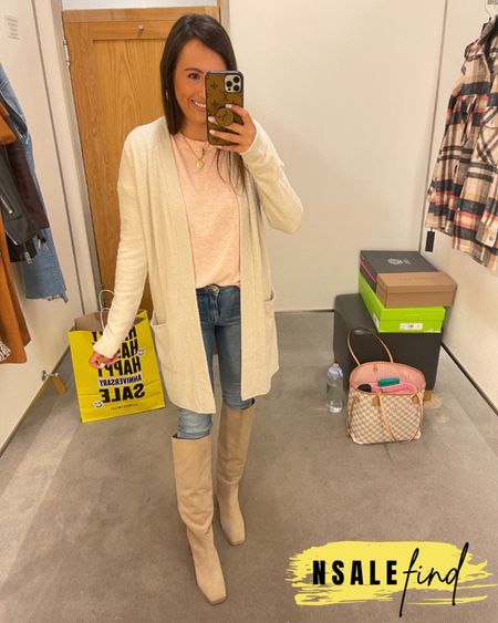 Nordstrom anniversary sale outfit - frame jeans true to size and have stretch. Tee is true to size. Cardigan I sized up to a small for room in the sleeves. Boots are true to size but you probably need to size up if you have a wider foot. I have a narrow foot.  #nordstromanniversarysale #nordstrom #nordstromanniversarysale2021 #nsale #nsale2021 #anniversarysale #nordstromsale Nordstrom anniversary sale Nordstrom anniversary sale 2021 nsale nsale2021        #LTKshoecrush #LTKsalealert #LTKunder100