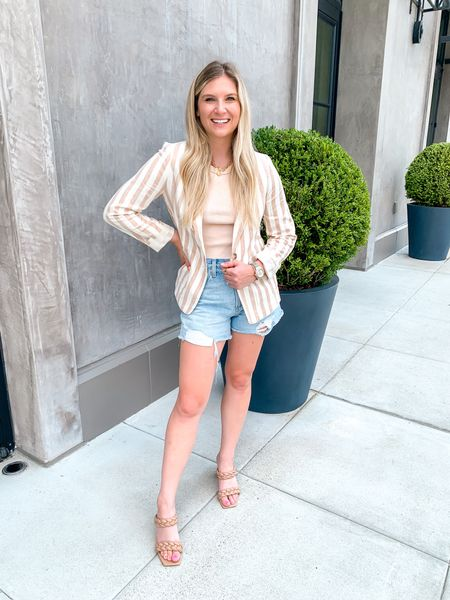 """Striped blazer draped James linen blazer summer to fall blazer professional outfit good blazers for work office outfit    Back to work this week & feeling so motivated! If you saw my stories earlier you know why! 🥰 And nothing makes me feel more professional than a good blazer …… and this one from @draperjames does not disappoint!!! 😍😍 dressed it up more for a dinner out but that's the beauty of a blazer - so many ways to wear it! Compiling a reels video soon of all the fun looks!   🙏🏻 Feeling blessed to realize my entire look was gifted 😭 and I love everything I'm wearing - I would have bought this entire look with my own money!   🎁 Gifts from brands makes it so much easier for me to share new content with you without spending ALL of my money on clothes/beauty etc! And I'll always let you know if it's paid with the S or A word 😂😂 don't want IG flagging this post as one lol   Blazer: @draperjames  Shorts: @favoritedaughter  Necklace: @wearvincent  Shoes: @dolcevita   ❤️ As always, it's so appreciated if you do make a purchase to shop using one of my links! If you don't like the LTK app just send me a DM and I'll send you the link.   📌 """"Fun"""" fact - the reason everyone puts a LTK link in stories is bc the """"cookies"""" expire after 5 mins with a direct link, so if you don't checkout within that time frame, bloggers don't get the credit! That's why it's always the LTK link which I too, understand is annoying. But there's not really another way to do it 😭  #LTKworkwear #LTKsalealert #LTKstyletip"""