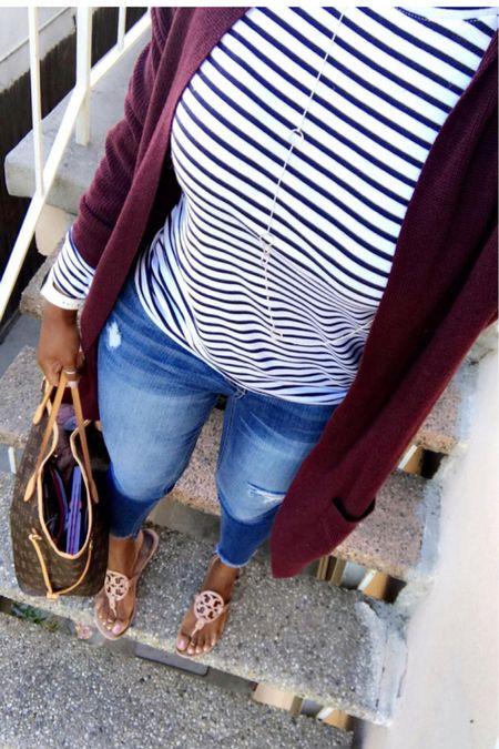 #nsale Cardigan sweater Long sleeve stripes layering shirt Denim Tory burch sandals  #LTKshoecrush #LTKSeasonal #LTKsalealert