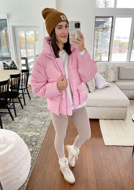 F A S H I O N \ neutral winter look with a pop of PINK!!💕 Wearing a M in my new puffer jacket - she's a beaut!!  #jacket #coat #wintercoat #winteroutfit #hikerboots #walmart #walmartfashion #booties #winterfashion  #LTKSeasonal #LTKstyletip