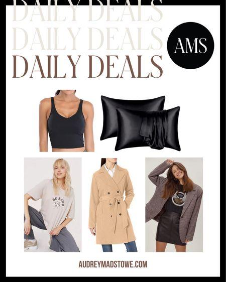 DAILY DEALS!  - Workout Tank - Satin Pillowcases  - Graphic T-Shirt - Trench Coat - Oversized Blazer  #LTKsalealert #LTKunder50 #LTKstyletip